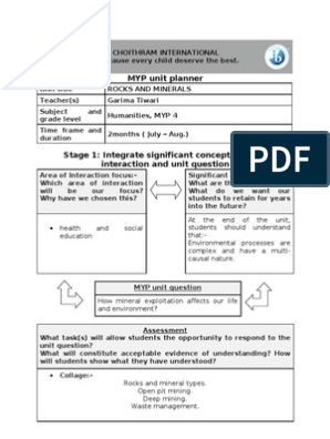 Unit Planner 1(MYP 4)Rocks and Minerals   Educational