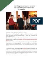Sutep Pide Al Congreso Promover Mesa de Trabajo Con Ejecutivo