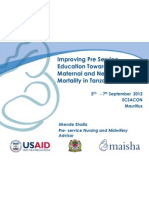 Improving Pre Service Education Towards Reduction of Maternal and Newborn Mortality in Tanzania, Ukende Shalla--ECSACON 2012