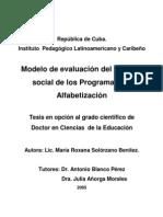Modelo de evaluación del impacto social de los Programas de Alfabetización