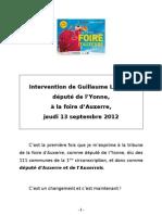 Intervention de Guillaume Larrivé, député de l'Yonne, à la foire d'Auxerre, jeudi 13 septembre 2012