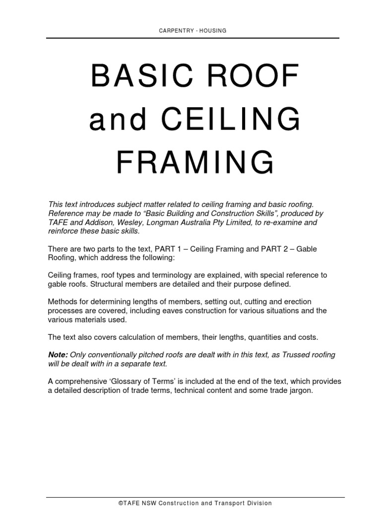 Basic Roof Part 1 Pages 1 - 26 | Framing (Construction) | Roof
