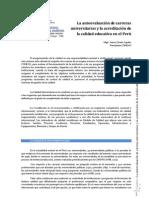 La autoevaluación de carreras universitarias  y la acreditación de la calidad educativa.  Caso peruano-Mgtr. Jaime Zárate Aguilar
