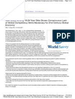 New Study Among 18-24 Year Olds Shows Conspicuous Lack of Global Competency Skills Necessary for 21st Century Global Economy