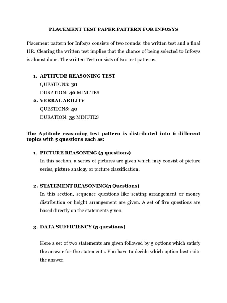 infosys online written test papers