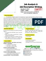 Job Analysis and Job Description Writing Made Easy - Nov 27