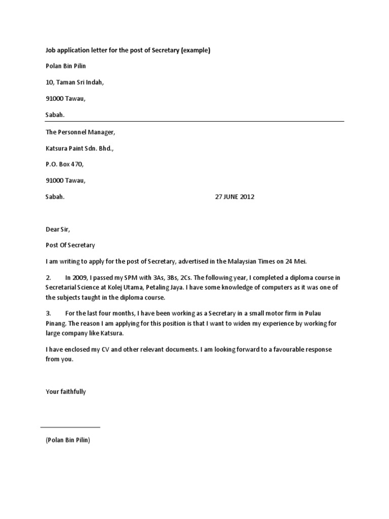 application letter for job vacancy in malaysia Of appointment letter in bahasa malaysia cover letter templates look at 1 relevant links 2 contoh application letter job vacancy.
