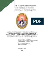 DISEÑO, CONSTRUCCION Y DETERMINACION DE LOS PARAMETROS DE OPERACION DE UN MOLINO DE BOLAS