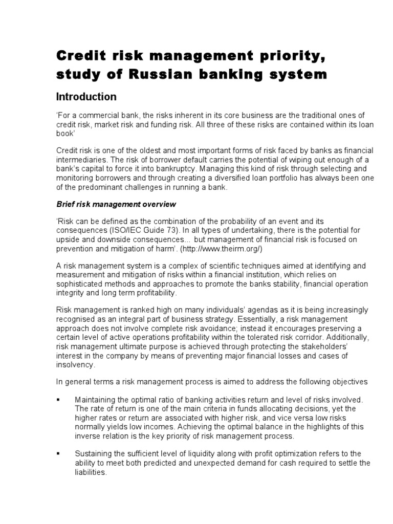 Dissertations Help: Credit Risk Management in Banks-Project Report