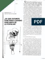 CANCLINI DE QUÉ HABLAMOS CUANDO HABLAMOS DE LO POPULAR