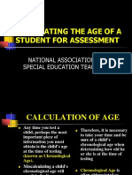 Calculation of Age for Assessment in Special Education