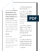 DISCRIMINACION A PARTIR DEFINICIÓN DE LA PALABRA NEGRO DADA  POR EL DICCIONARIO DE  LA REAL ACADEMIA DE LA LENGUA ESPAÑOLA.