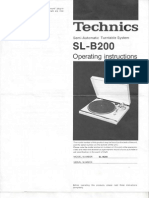 Technics Turntable SL-B200 Operating Instructions