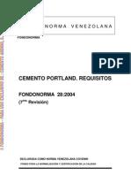 Cementos Portland. Requisitos FONODONORMA 28-2004