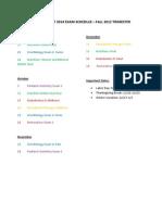Fall 2012 Exam Schedule
