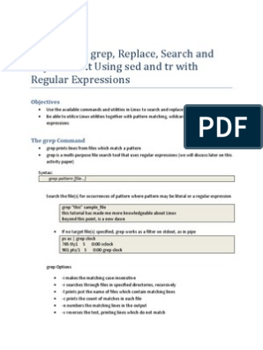 Using grep, tr and sed with Regular Expressions | Regular