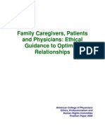 Family Caregivers, Patients, And Physician -- Ethical Guidance