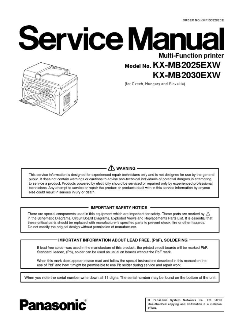 Panasonic Kx-mb2025 2030 Service Manual | Fax | Image Scanner