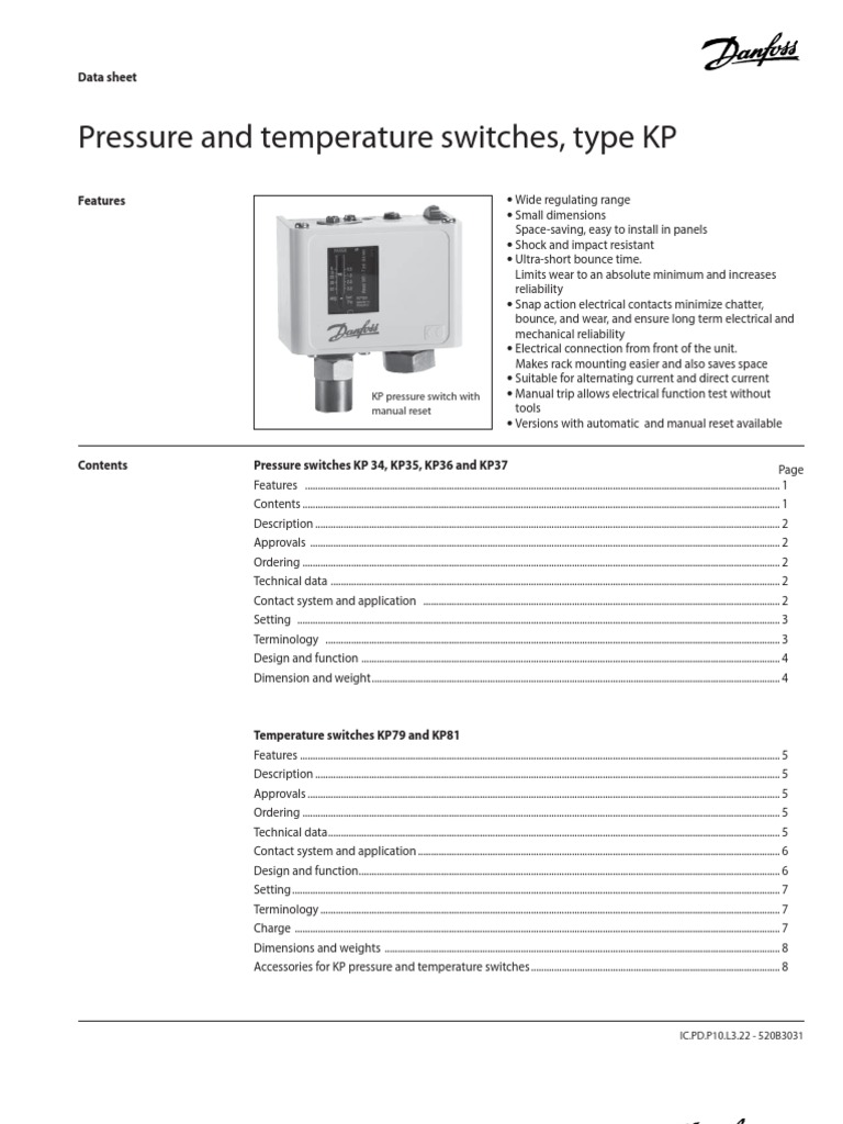 Danfoss Pressure Switch KP34, KP35, KP36, KP37 | Switch | Electrical on