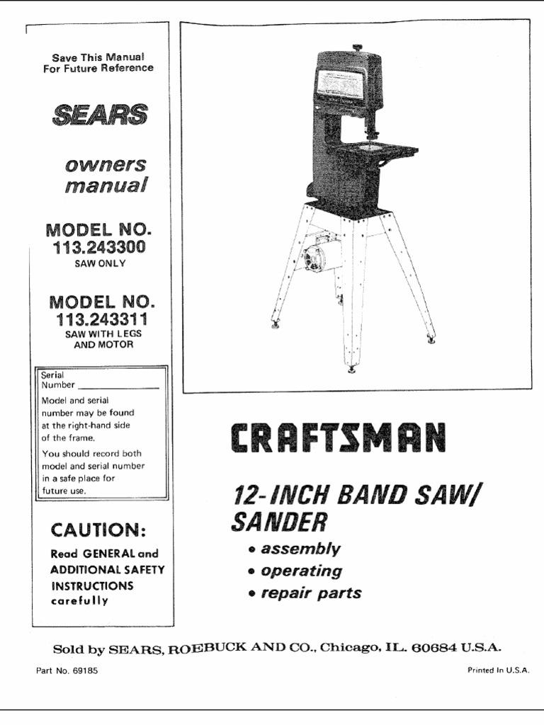 craftsman 12 inch bandsaw manual screw electrical. Black Bedroom Furniture Sets. Home Design Ideas