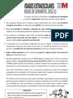 Actividades Extraescolares Miguel Cervantes 2012-13