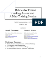 Rubrics for Critical Thinking Assessment