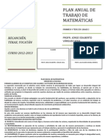 PLAN ANUAL DE TRABAJO DE MATEMÁTICAS 2012-2013