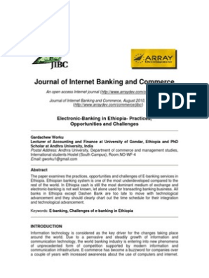 Journal of Internet Banking and Commerce: Electronic-Banking