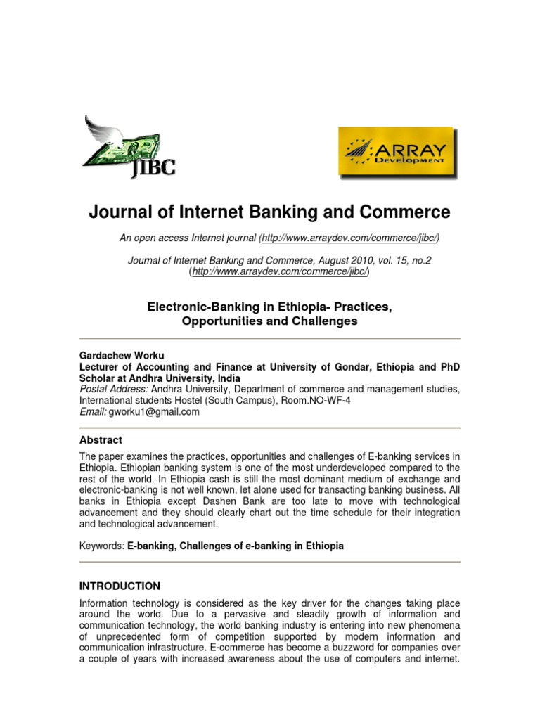 Journal of Internet Banking and Commerce: Electronic-Banking in