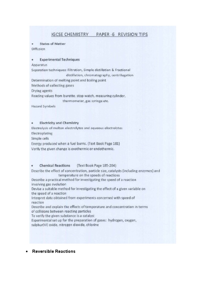 chemistry paper 6 igcse tips Cie igcse chemistry 0620 summarized revision pdf notes by znotes, past  paper solution tutorials by zclass & cambridge subject expert coaching by  zcoach.