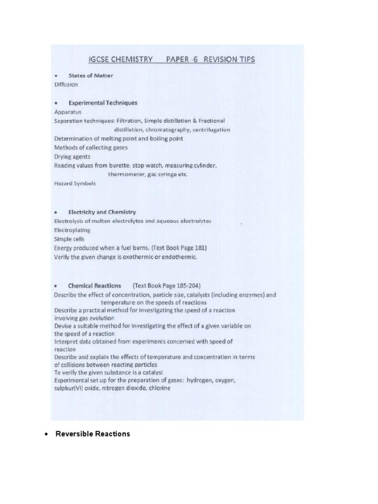 Chemistry IGCSE Paper6 Tips[1]   Chemical Reactions   Salt (Chemistry)