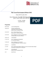Great Environment Debate 2012 Programme