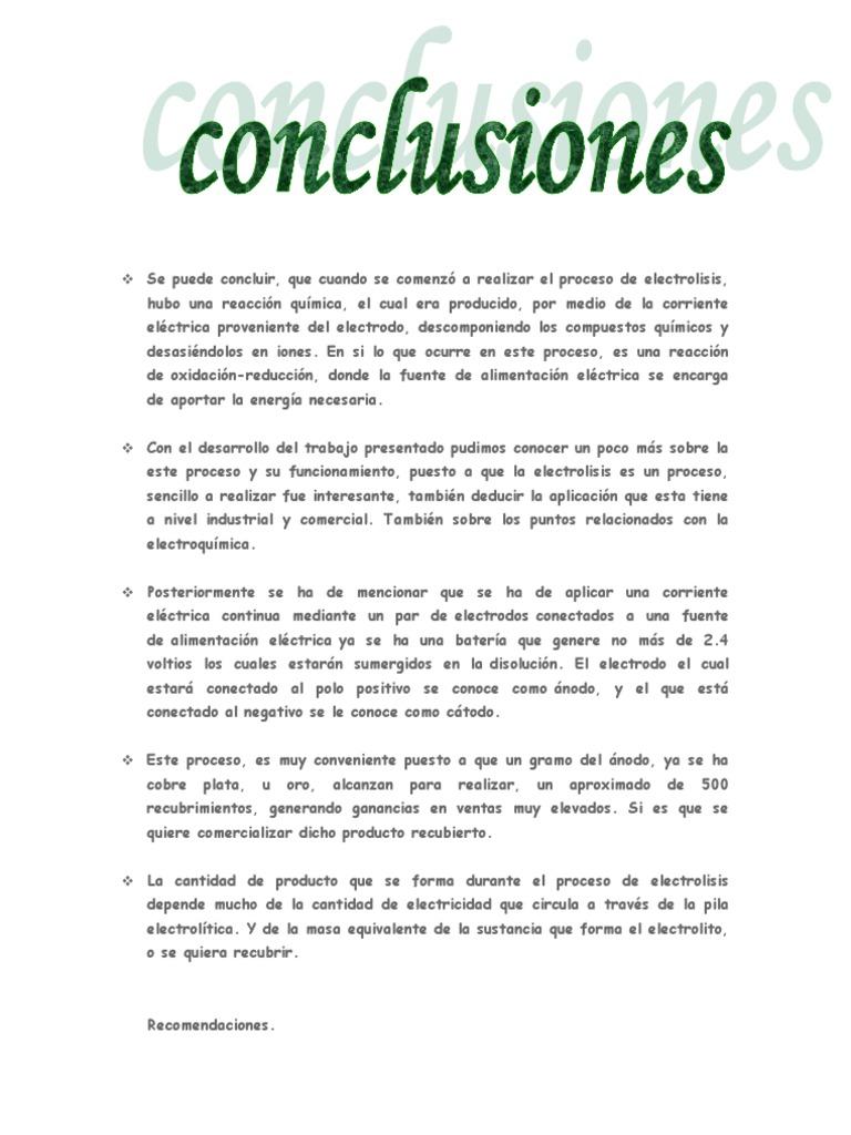 conclusiones de electrolisis