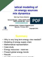 Математическое моделирование динамик смешанных источников энергии в долгосрочной перспективе