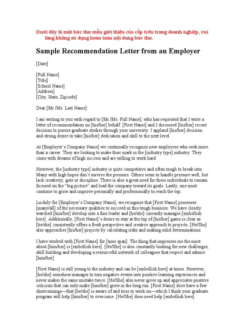 recommendation letter for ms