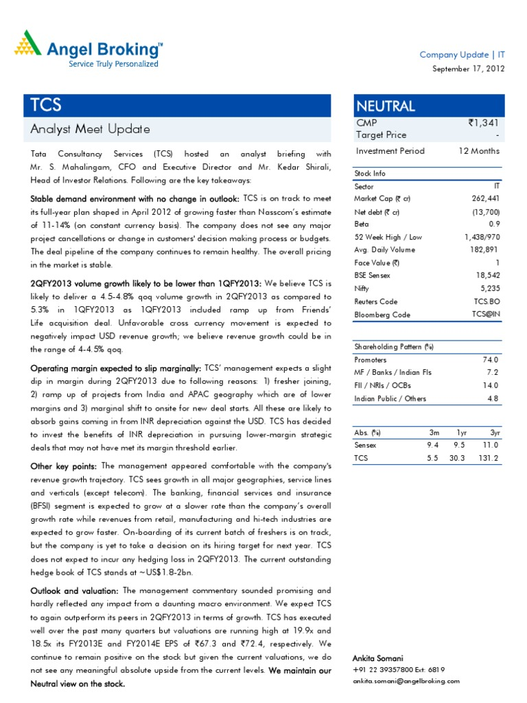 Tcs companyupdate investment banking revenue nvjuhfo Choice Image