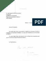 Carta de renuncia de Esperanza Aguirre
