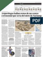 Aruqeólogos hallan restos en un centro ceremonial que sería del nieto de Naylamp