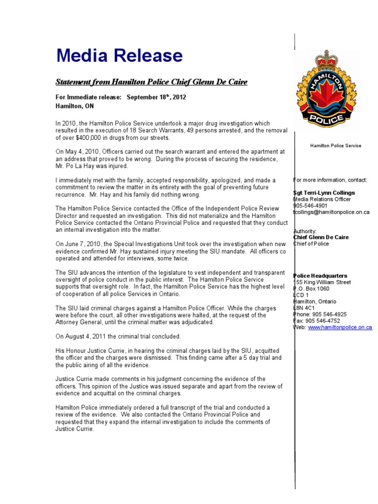 Statement From Chief De Caire | Search Warrant | Police