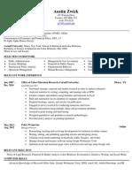Zwick Resume 09182012 Standard Resume