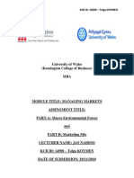 MANAGING MARKETS - Macro Environmental Forces and Marketing Mix
