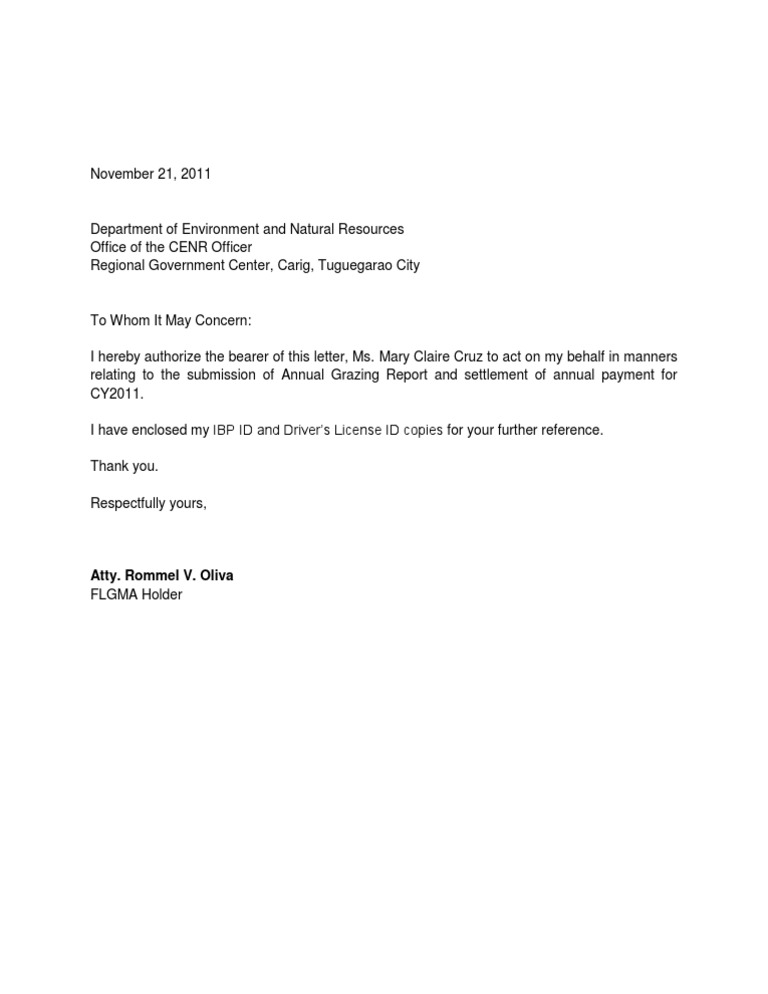 Authorization Letter – Letter of Authorization Letter