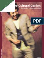 Septembre à Décembre 2012 - Programme du Centre Culturel Coréen à Paris