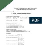 2º Bim. - 1ª Lista de Exercícios sobre Sistemas Lineares