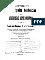 Anselmo Lorenzo -Fundamento y Principales Tendencias Del Anarquismo Contemporaneo