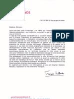 Réponse de Francois Hollande au Collectif 07 Stop au gaz de schiste