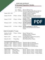 2012-2013 Sacrament Prep Calendar