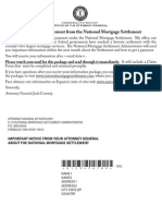 Mortgage Settlement Notice