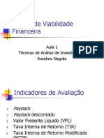 Análise de Viabilidade Financeira - Aula 1 - Indicadores de Viabilidade