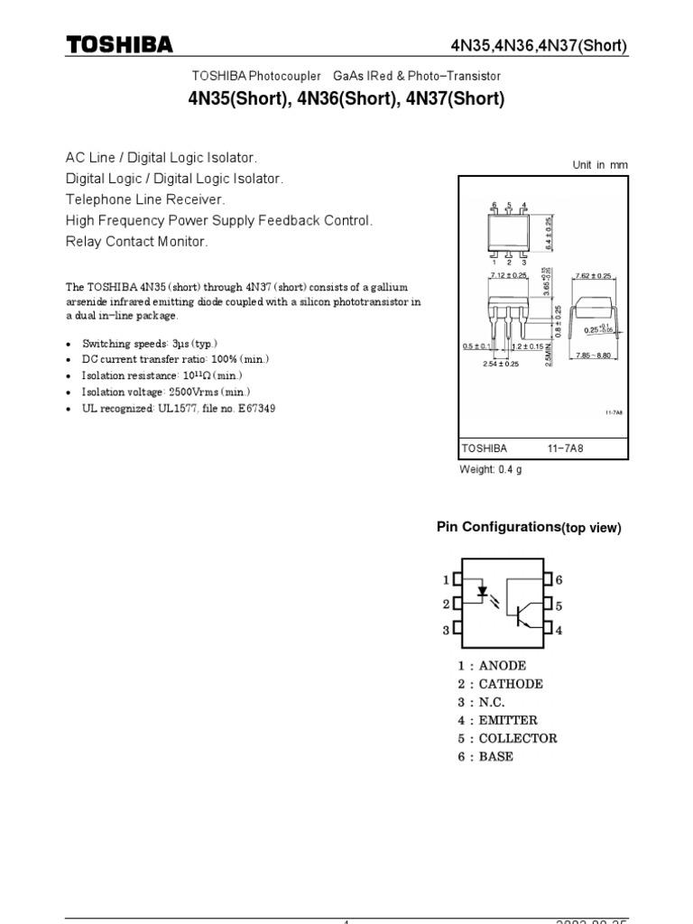 Optoacoplador 4n35 Gallium Arsenide Reliability Engineering Relay Switching Speed